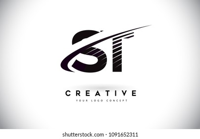 ST S T Letter Logo Design with Swoosh and Black Lines. Modern Creative zebra lines Letters Vector Logo