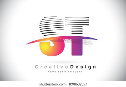ST S T Letter Logo Design With Creative Lines and Swosh in Purple Brush Color Vector Illustration.