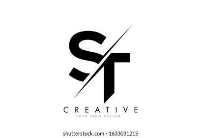 ST S T Letter Logo Design with a Creative Cut. Creative logo design..