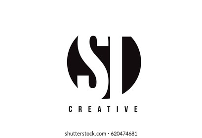 ST S T White Letter Logo Design with Circle Background Vector Illustration Template.