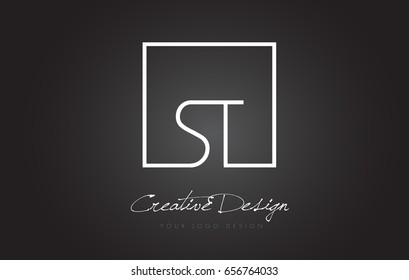 ST Square Framed Letter Logo Design Vector with Black and White Colors.