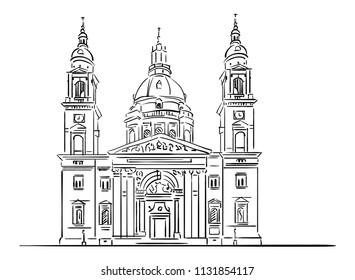 St. Stephen's Basilica, Budapest, Hungary art vector