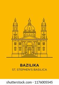 St Stephen's Basilica in Hungary capital icon. Vector art illustration design. Roman Catholic basilica in Budapest famous architectural landmark. Historical Stephen, king of Hungary largest church