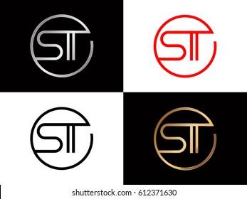 St text red gold black silver modern creative alphabet  letter logo design vector icon