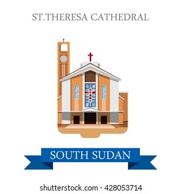 St. Theresa Cathedral in Juba in South Sudan. Flat cartoon style historic sight showplace attraction web site vector illustration. World countries cities vacation travel sightseeing Africa collection.