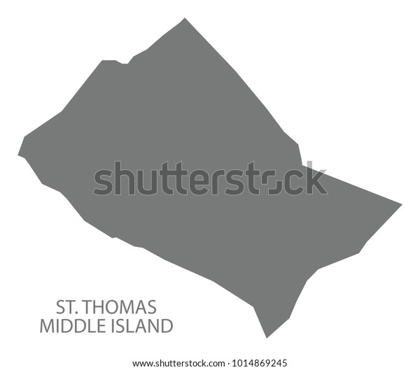 St Thomas Middle Island Map Grey Stock Vector (Royalty Free ...