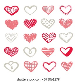 St Valentine s Day clipart. Hand drawn vector cute hearts set for greeting cards design.