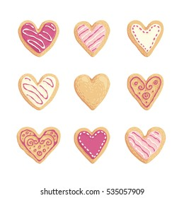 St Valentines cookies vector hand drawn hearts