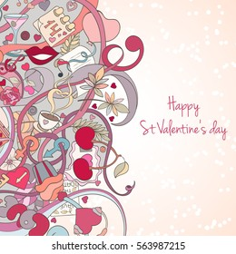 St Valentine's day card can be used for invitation, wedding, postcard or website. Hand-drawn vector love banner. Cartoon art concept.