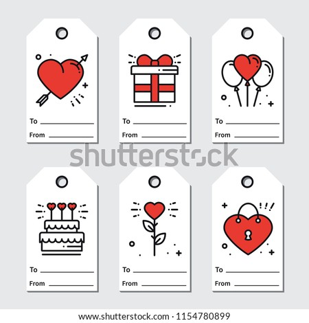 St Valentines Day Gift Tags Printable Stock Vector Royalty Free