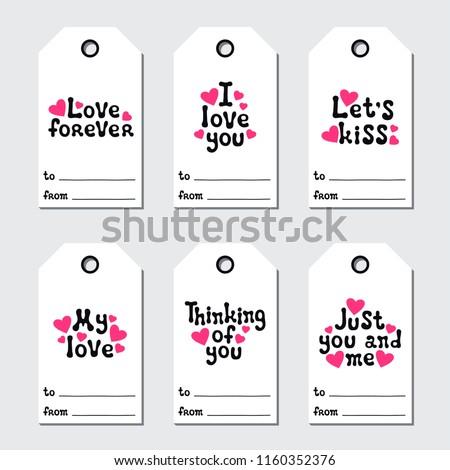 St Valentines Day Gift Tags Printable Stock Vektorgrafik Lizenzfrei
