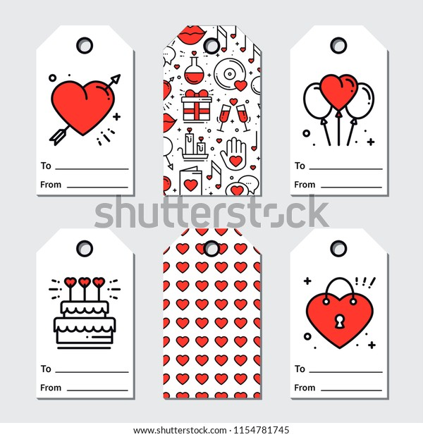 image relating to Valentine Gift Tags Printable named St Valentines Working day Reward Tags Printable Inventory Vector (Royalty