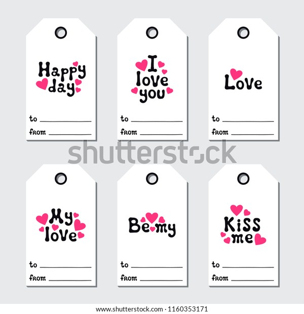 image regarding Valentine's Day Tags Printable known as St Valentines Working day Reward Tags Printable Inventory Vector (Royalty