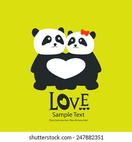St. Valentine's day greeting card with panda bears