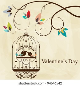 St. Valentine's day greeting card with birds