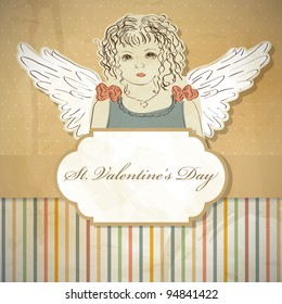 St. Valentines' day  greeting card with angel