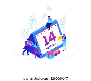 St Valentines day - modern colorful isometric vector illustration on white background. A composition with male, female characters with presents, writing love emails, calendar showing 14th of February