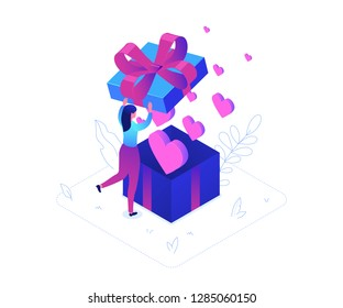 St Valentines day - modern colorful isometric vector illustration on white background. High quality composition with a woman, girl opening a big present, images of pink hearts flying from the box