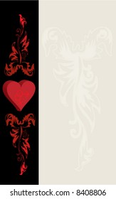 St. Valentine's Day postcard - heart and red ornaments, notes field