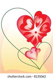 St. Valentine's Day postcard - hearts flower