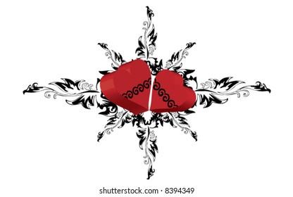 St. Valentine's Day postcard - hearts and black star ornament