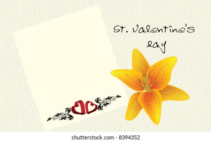 St. Valentine's Day postcard - hearts, ornament and flower