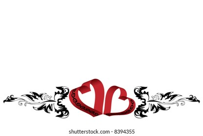 St. Valentine's Day postcard - hearts and black ornament