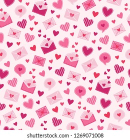 St. Valentine's Day seamless pattern with postal envelopes, speech bubbles and hearts on light pink background. Perfect for gift paper, greeting cards, wallpaper. Vector hand drawn illustration.