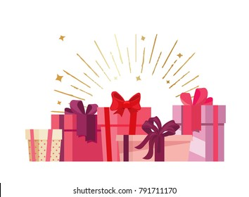 St. Valentines holiday gifts concept vector flat poster design. Illustration with pink boxes and place for text
