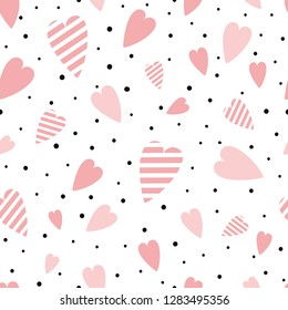 St Valentines seamless pink pattern with heart shapes ornament decorated black polka dot ornament Vector illustration for wallpaper, wrap Wedding background Valentines day template Girly pyjama print.