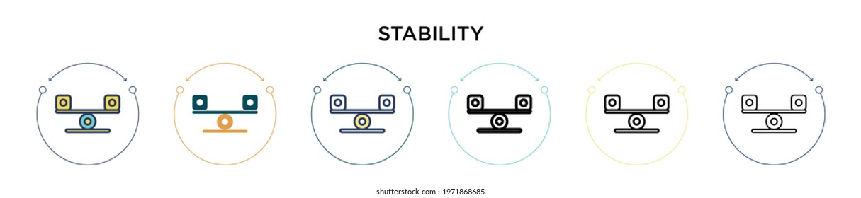 Stability icon in filled, thin line, outline and stroke style. Vector illustration of two colored and black stability vector icons designs can be used for mobile, ui, web