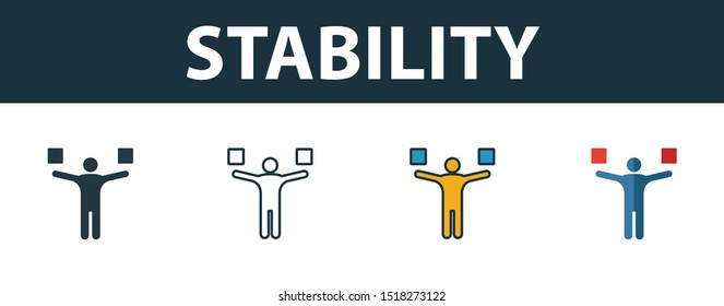 Stability icon set. Premium simple element from productivity icons collection. Set of stability icon in filled, outline, colored and flat styles.