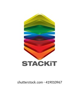 Stack 3D translucent colorful shinny rectangular stacked up in vector format illustrations