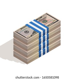 Stack of bank packages of fifty dollar bills, bundle of US banknotes, pile of cash, paper money. The concept of financial success and wealth. Isometric vector illustration on white background