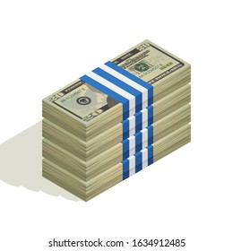 Stack of bank packages of twenty-dollar bills, bundle of US banknotes, pile of cash, paper money. The concept of financial success and wealth. Isometric vector illustration on white background