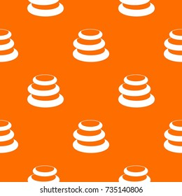 Stack Of Basalt Balancing Stones Pattern Repeat Seamless In Orange Color  For Any Design. Vector