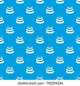 Stack Of Basalt Balancing Stones Pattern Repeat Seamless In Blue Color For  Any Design. Vector