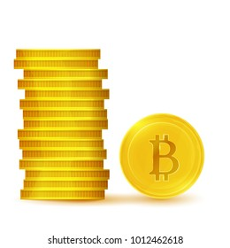 Stack of bitcoins.