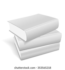stack of blank books on white background
