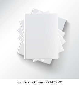 Stack of blank books, top view. Various blank white books on white background for your desing and presentation.
