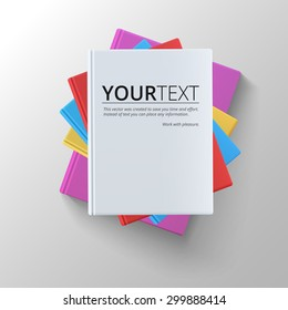 Stack of blank books, top view. Various blank color books on white background for your desing and presentation.
