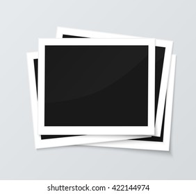 Stack of blank horizontal photo frames from instant camera with shadow isolated on gray background images. Realistic vector illustration of photo frame with space for images and photos. Photo frame
