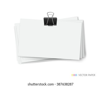 Stack of blank white business cards with paper clip isolated on white background. Twisted stack of vector paper cards. Realistic vector illustration of paper pieces with shadow and space for info
