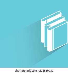 stack of book in blue background, flat and shadow design
