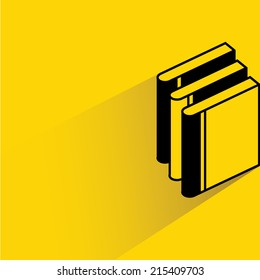 stack of book on yellow background, flat and shadow theme design