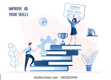 Stack of books. Businessman or male student climbs the stairs, improve new skills and education concept,Successfull businesswoman on top with certificate, trendy style vector illustration