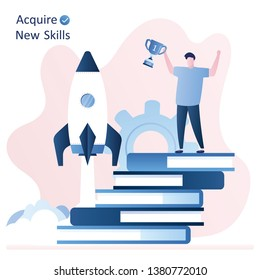 Stack of books and businessman or student with victory cup. Acquire new skills and education concept, spaceship take off .trendy style vector illustration.