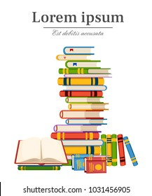 Stack of books education infographic template design with books pile vector illustration with place for your text isolated on white background web site page and mobile app design.