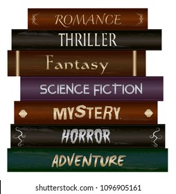 Stack of books- Fiction genre- Romance, Thriller, Fantasy, Science Fiction, Mystery, Horror and Adventure.