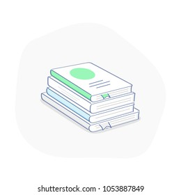 Stack of books in flat outline isometric design. Education template design with books pile. Reading, science, teaching, school, knowledge, study concept.